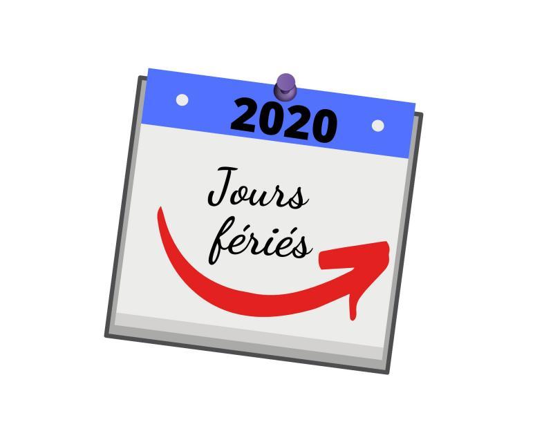 Les jours fériés pour l'année 2020