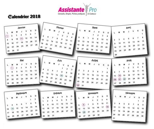 calendrier pour l'année 2018